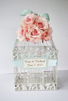 Custom LARGE Wedding Birdcage Card Holder by MackensleyDesigns