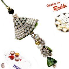 Dark Green Velvet Lumba Rakhi with American Diamonds : buy flowers online, buy cake online, send flowers, cakes to India