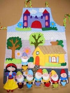 Mandil Cuenta Cuentos (7 Kids Crafts, Felt Crafts, Diy And Crafts, Felt Puppets, Felt Finger Puppets, Handmade Toys, Handmade Crafts, Storybook Crafts, Teacher Apron