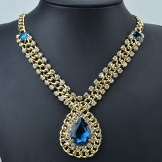 GP Sapphire Blue Resin And Crystal Statement Necklace. Starting at $18 on Tophatter.com!