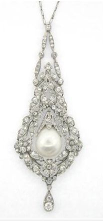 Platinum, Diamond and natural Pearl Pendant. Worn by Edith Bouvier Beale.