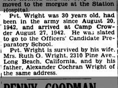 Robert A. Wright dies, camp crowder, 17 Sept 1942