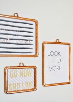 DIY Copper Frames from a joyful riot.com (a blog) Home Decor DIY Pin Board as well.