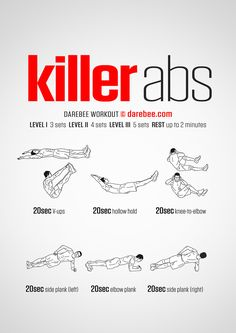 The abdominal muscle groups form one of the most important power cores of the body. Training them has to be a steady, incremental job that requires patience and persistence. The Killer Abs workout is here to help you do just that. Follow each exercise, pay attention to form. Add perspiration. Your recipe for killer abs is then ready.