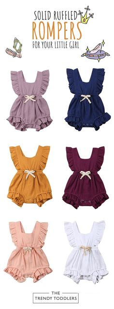 5bbd9c872db SALE 55% OFF + FREE SHIPPING! SHOP Our Ruffle Solid Rompers for Baby Girls