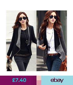 Coats   Jackets Lady Womens Jacket Coat Slim Blazer Black Fit Outwear  Zipper Parka Fashion  ebay  Fashion db826d38963