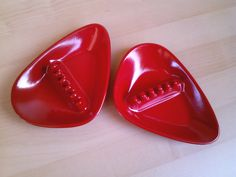 Vtg Red MID CENTURY MODERN Eames Era ATOMIC Ashtray Set ANHOLT Biomorphic AMOEBA