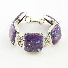 Purple Turquoise Sterling Silver Bracelet - keja jewelry