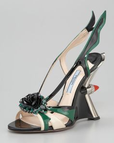 PRADA  Jewel-toe Taillight Wedge Sandal  $1450 at Neiman Marcus
