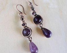 Deep purple amethyst earrings/ copper earrings amethyst/ wire wrapped jewelry handmade/ copper wire earrings purple jewelry/ birthday gift