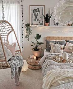 Cute Bedroom Ideas, Cute Room Decor, Room Ideas Bedroom, Bedroom Inspo, Cozy Teen Bedroom, Bedroom Inspiration, Cozy White Bedroom, Wall Decor, Bedroom Ideas For Teens