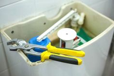 Many toilet repairs are DIY-friendly, requiring few (if any) basic hand tools. So don't call a plumber; get the solutions for the most common problems here. Home Renovation, Home Remodeling, Toilet Repair, Basic Hand Tools, Home Repairs, Elegant Homes, Home Improvement Projects, Flooring, Bob Vila