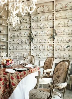 Janet de Botton's home as seen in Vogue Living; Love this display for a dining room Plate Display, China Display, Display Wall, Displaying China, Dish Display, Plate Racks, Plate Storage, Plate Shelves, Plate Hangers