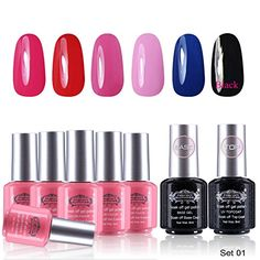 Perfect Summer Gel Nail Polish 6 Different Colors   Base   Top Coat Best Selling Nail Gel Set