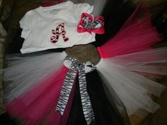 Hot Pink White Black and Zebra print  tutu with by HairbowsNMore, $35.00