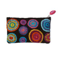 Still love the concentric circles of color - now in a cute embroidered pouch.  I'd use this as a clutch with an all-black outfit.