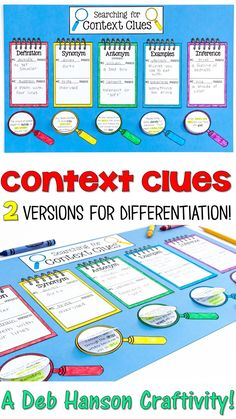 Here's a hands-on context clues activity that your students won't soon forget. Teach five types of context clues with this reading activity: definition, synonym (restatement), antonym (contrast), example, and inference. Students read ten sentences and determine the meaning of the underlined words AND the type of context clue they used to identify the meaning. The finished product makes a great reading bulletin board.