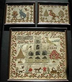 Extremely rare trio of multiple folk art samplers by one schoolgirl--one standard sized, two miniature.