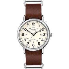 Part Number: Weekender® Slip-Thru - Brown Leather Strap. The Weekender collection is all about versatility. From leather to fabric and with a wide selection of colors to choose from, you've got options. Stylish Watches, Casual Watches, Cool Watches, Watches For Men, Luxury Watches, Choker, Timex Watches, Men's Watches, Jewelry Watches