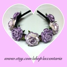 Pretty lavender tea rose liberty spiked headband  by AccentAria