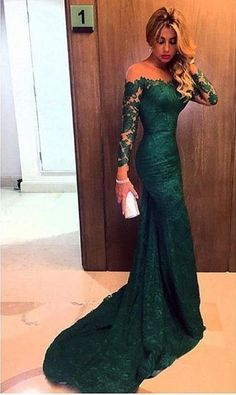 New Arrival Dark Green Evening Gown,Long Sleeves Mermaid with Train Prom Dresses,Lace Dresses