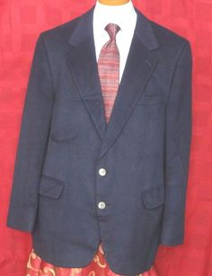 Lord & Taylor Men's Blue 100% Cashmere 2 Button Sport Coat Size 44R #LordTaylor #TwoButton