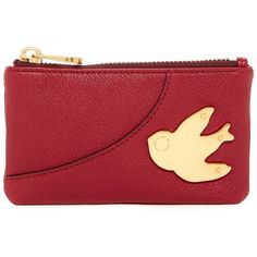 Marc by Marc Jacobs Petal To The Metal Leather Key Pouch ($50) ❤ liked on Polyvore featuring bags, merlot, key purse, key bag, red leather bag, real leather bags and marc by marc jacobs bags