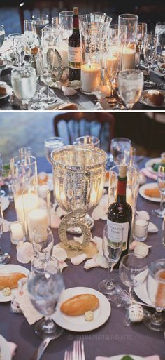 Silver glitter wedding reception table numbers // El Cortez Hotel Wedding in San Diego