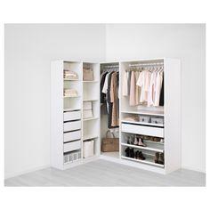 IKEA - PAX white Corner wardrobe Frame colour: white, Flisberget light