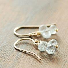 Delicate Aquamarine Cluster Earrings, Gold March Birthstone Jewelry, Pastel Blue Gemstone Earrings