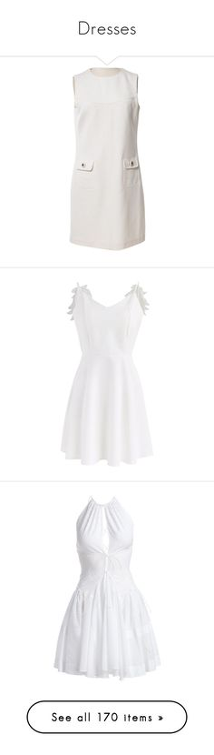 """Dresses"" by magnusx ❤ liked on Polyvore featuring dresses, white, women clothing dresses, woolen dress, white dress, mid length dresses, preowned dresses, raoul dress, low-back dresses and cami dress"
