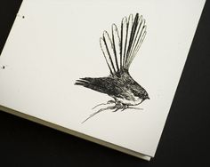 Items similar to Fantail (Piwakawaka) Coptic Bound Journal on Etsy New Zealand Art, Pretty Birds, Tattoo Inspiration, Typography Design, Body Art, Moose Art, Journal, Drawings, Illustration