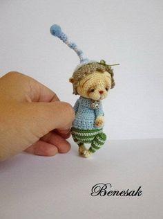 Thread Artist Crochet Miniature Bear Doll by Benesak | eBay