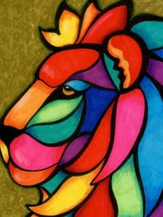 Illustration in stained glass style with abstract geometric rainbow cat - compre este vetor na Shutterstock e encontre outras imagens. Oil Pastel Paintings, Oil Pastel Art, Indian Art Paintings, Animal Paintings, Easy Canvas Painting, Painting & Drawing, Canvas Art, Arte Judaica, Cubist Art