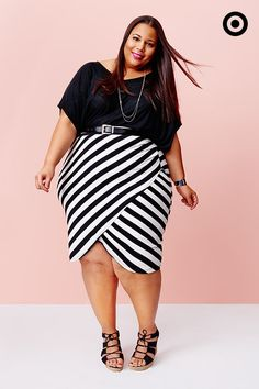 This AVA & VIV Plus black-and-white-striped tulip skirt has spring fever written all over it. Dress it up for work with a tucked top and belt.