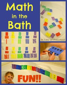 Math in the Bath = Arrange craft foam strip tallies to count and match craft foam dominoes with numerals Preschool At Home, Preschool Learning, Educational Activities, Toddler Preschool, Early Learning, Toddler Activities, Learning Activities, Teaching Kids, Kids Learning