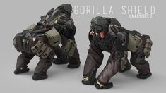 The Gorilla Shield is a design I made as a part of a bigger project called ABP. Science Fiction, Character Concept, Character Design, Futures End, Close Quarters Combat, Call Of Duty Infinite, Monster Squad, Iron Man Suit, I Robot