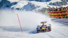 Max Verstappen performs during the F1 Showrun at the Hahnenkamm in Kitzbuhel, Austria on Jannuary 14, 2016. © Philip Platzer/Red Bull Content Pool