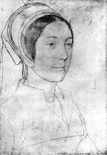 Sketch by Holbein said to be Katherine Howard.