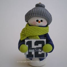 12th Man Seahawks Polymer Clay Snowman Ornament - Polymer clay by Helen's Clay Art - pinned by pin4etsy.com