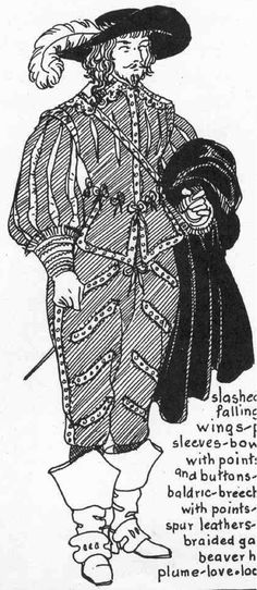 17th century men work cloaks and capes which often had wide collars. The cloak he is holding in his left arm were worn over both shoulders and secured with a cord that passes under the wide collar. In France it was called the 'Balgany' cloak after  a popular military hero.  Boots with slap soles (fi rst half of the 16th century)  and jackboots (17th century). His breeches extend below the knee.
