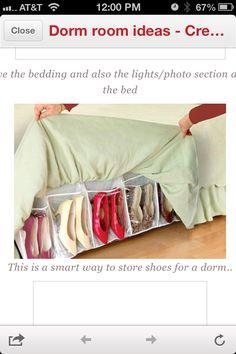 Shoe storage for dorm.... Very smart!!
