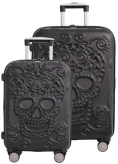 IT-Luggage-Skulls-2-Piece-Expandable-Upright-Spinner-Set-21-5-034-amp-26-034-Black