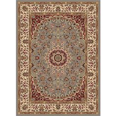 Tayse Elegance Rectangular Blue Floral Woven Area Rug (Common: 9-ft x 12-ft; Actual: 9.25-ft x 12.5-ft)