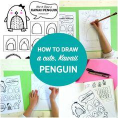 How to draw a cute Kawaii Penguin.