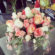 A #beautiful #Victorian #style #arrangement! All roses in pinks, white, cream and blush tones.