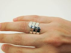 Sterling Silver Ring Extra Wide Silver Ring Wide by Lovethebugs
