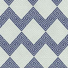 Home Decor Print Fabric- Waverly On Key Navy - Greek Key Chevron