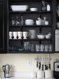 HGTV Shop the Look: Black and White Open Kitchen >> http://photos.hgtv.com/rooms/viewer/country/open-kitchen-shelving?soc=pinterest