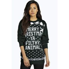 Boohoo Eva Merry Christmas Ya Filthy Animal Jumper ($26) ❤ liked on Polyvore featuring tops, sweaters, bottle, sequin top, party tops, chunky sweater, party jumpers and chunky turtleneck sweater